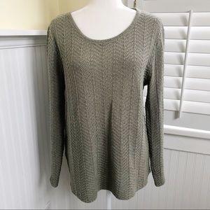 Isabella Bird Lt Sage Green Chevron Knit Sweater